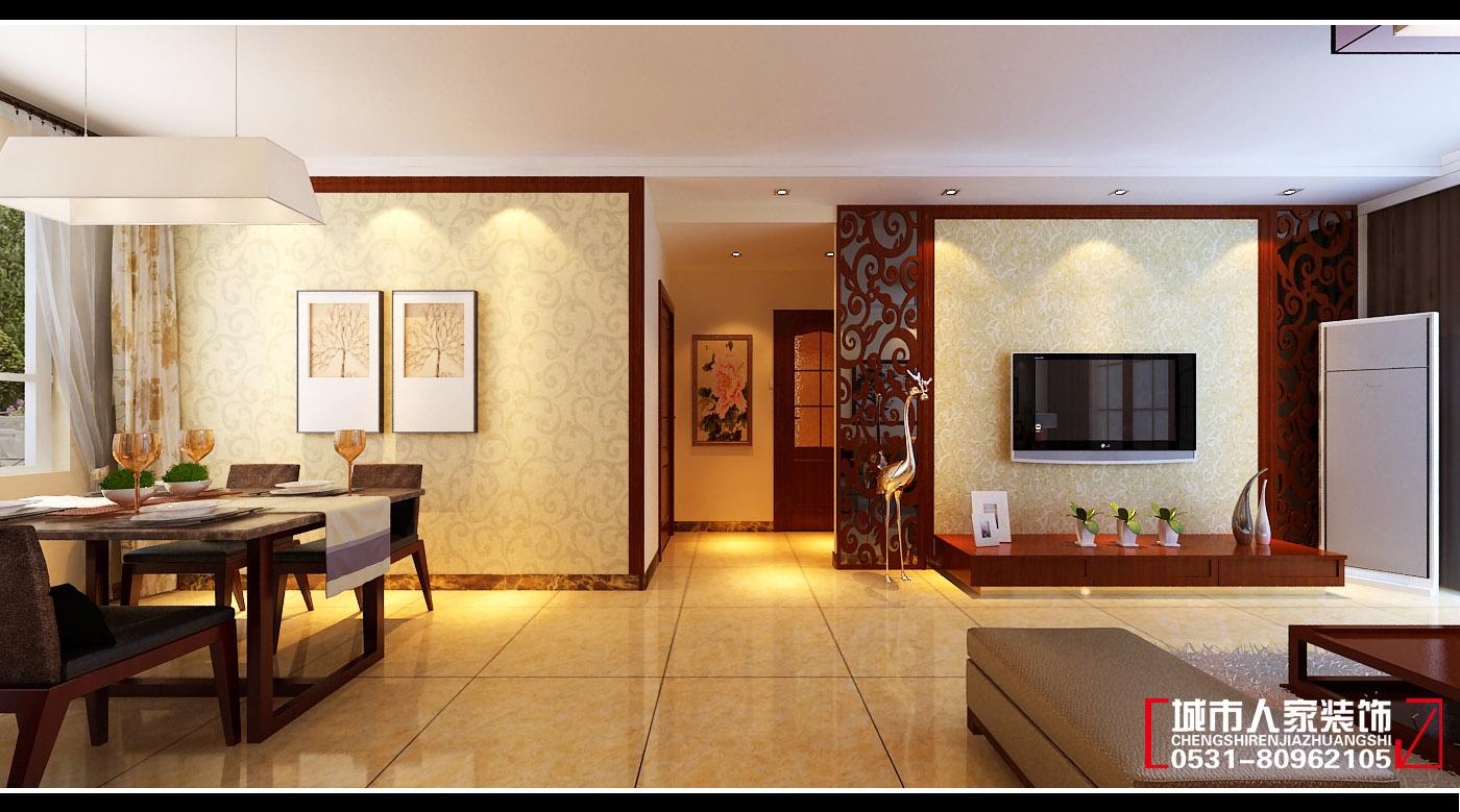 在客厅设计上讲究层次感,影视墙用色彩高贵稳重的壁纸进行处理