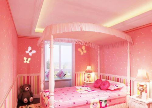 特奠定了室内装修风格,加上可爱的娃娃,粉红色窗帘以及可爱的贴纸等