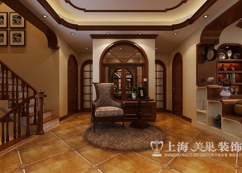 碧桂园360平别墅美式乡村风格装修效果图 电视墙设计