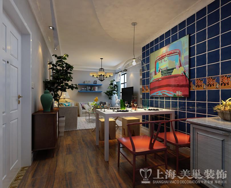 海混搭风格装修效果图 餐厅及厨房全景 -郑州 美巢装饰 装修公司会员