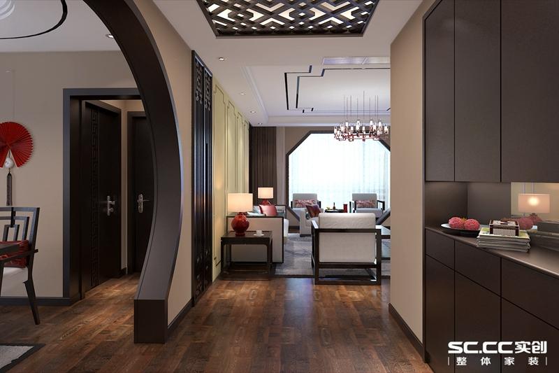 玄关装修效果图 拱形门带有传统中式的意境,其吊顶与客厅相互呼应 -