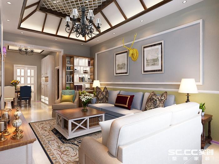 客厅装修效果图 客厅空间以复古美式仿古砖 整体颜色较深显出档次 天