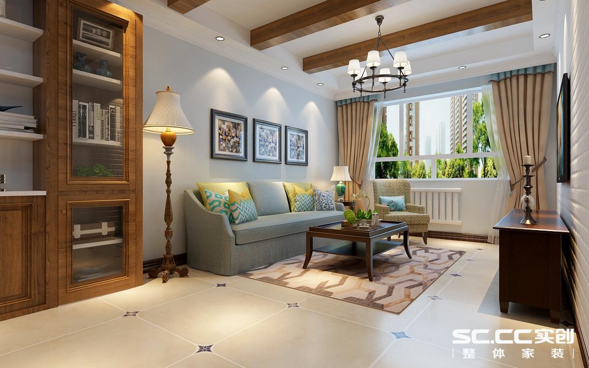 善上居居家舒适93平欧式混搭两居 客厅装修设计案例效果图