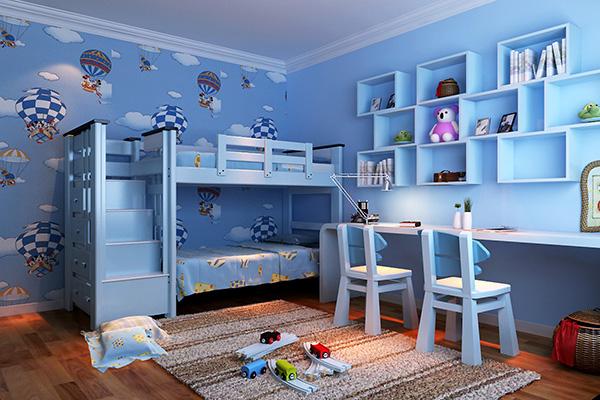 儿童卧室装修设计应注意的理念:孩子卧室墙壁 1.