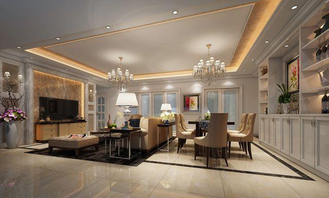 一起来看看吧。 A:对于客厅简欧风格装修而言,低调的颜色搭配,透露出比较简约清新的效果,能够时刻让主人在这个过程中感觉到温馨的效果。因此,在简欧客厅装修中必须要达到这样的特色。 B:尤其是在布置客厅过程中,其中的沙发、电视柜、茶几、背景墙、落地窗等等都应该透出简洁明亮的效果,提高了在整体上的档次和效果,这样的装饰设计才会显得比较脱颖而出。在各个角度上看起来都是非常舒适的。总之,在大多数装饰公司设计的效果图来看,都能够体现出这方面的特色。   当然,在简欧客厅装修中还需要增添温暖的气息,转角沙发和面板茶几更