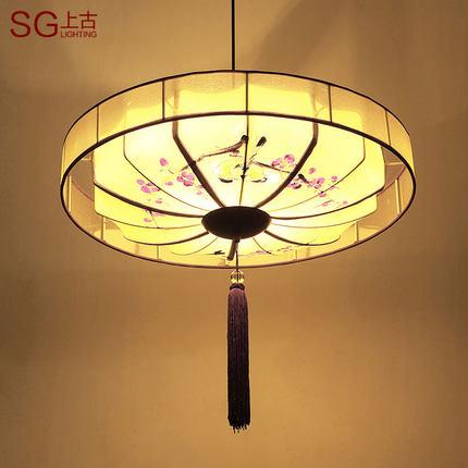 新中式吸顶灯古典卧室书房餐厅手绘灯具布艺圆形茶楼酒店灯饰