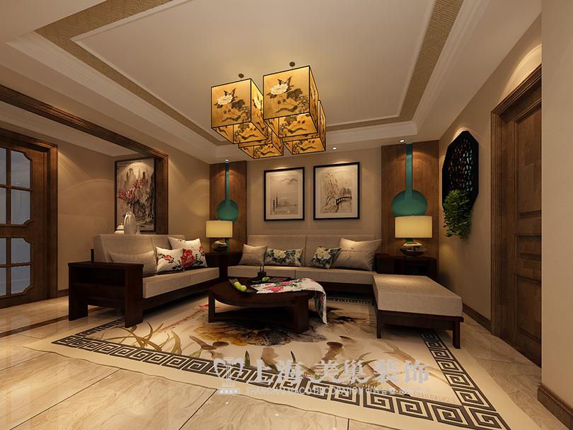开祥御龙城136平三室两厅雅丽新中式装修效果图图片