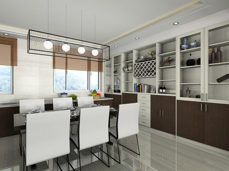 【呼市实创装饰】绿地之窗小区|143平米现代风格/经典装修案例/餐厅效果图