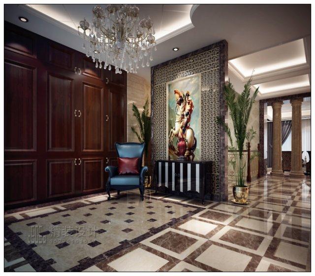 在客厅和餐厅之间利用欧式古典罗马柱做成通透的隔断