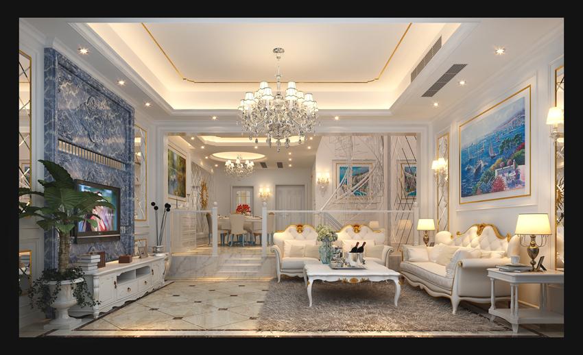 设计咨询:TEL-13883132213 QQ-1486788079 设计说明:本案以华丽的装饰、浓烈的色彩、精美的造型达到华贵的装饰效果。顶部用大型灯池,并用华丽的枝形吊灯营造气氛。门窗上半部做成弧形,并用带有花纹的石膏线勾边,室内则有壁灯造型。墙面用优质乳胶漆,以衬托豪华效果。地面材料以石材和地板为主。客厅用家具和软装饰来营造整体效果,深色的像木和枫木家具,色彩鲜艳的布艺沙发,都是本案欧式客厅里的主角。还有浪漫的罗马帘,精美的油画,制作精良的雕塑工艺品,都是点染欧式风格不可缺少的元素。客厅的大部分在挑