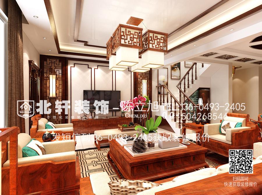 盘锦辽河左岸270平米中式风格装修效果图