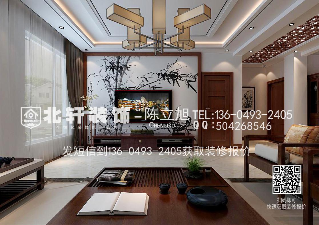 盘锦北轩装饰橡树湾200平新中式别墅装修效果图