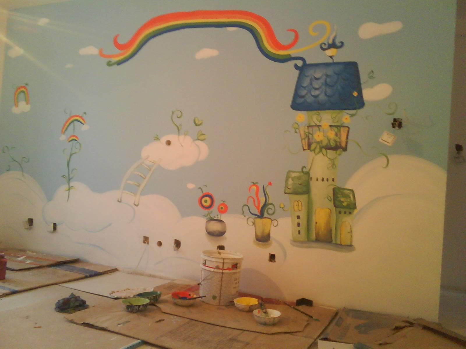 天才儿童房手绘墙
