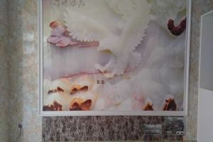 草店铺雷先生竹木纤维板背景墙(沙发)