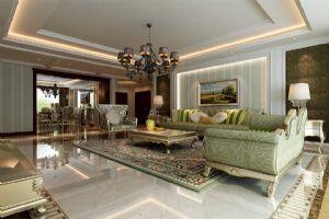 【呼市实创装饰】兴泰东河湾小区||250平米简欧风格/经典装修案例/客厅效果图