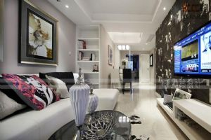 卓越蔚蓝群岛109平三居室简约装修案例|青岛实创装饰
