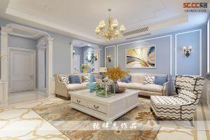 世茂意墅湾130+90平下叠现代美式装修风格|青岛实创装饰