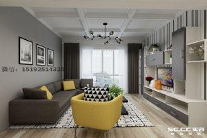 金地悦峰现代简约三居室128平装修设计|青岛实创装饰