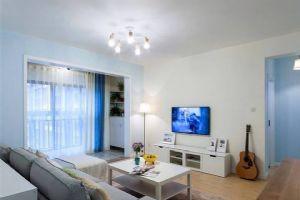 80�O现代简约风格家居装修设计,以蓝白为主色调,非常干净雅致