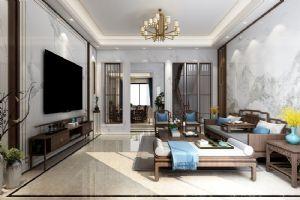 惠州松树岗别墅豪宅新中式,客厅效果图