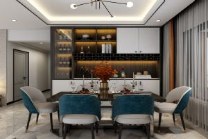 雅佳苑现代时尚轻奢风,餐厅效果图